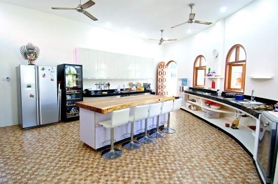 The kitchen is circular like the rest of the house